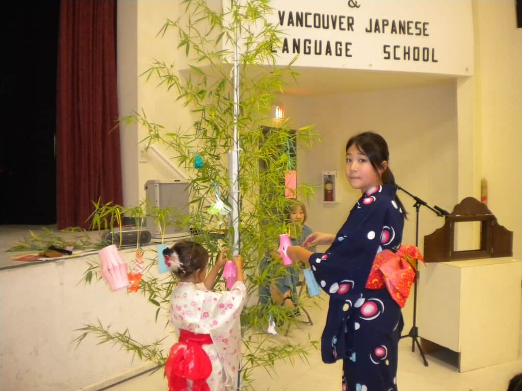 Made wishes and decorated a bamboo tree. 願いを短冊に書いて飾りました。